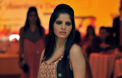Model at fashion show in Lahore celebrating Valentine Day