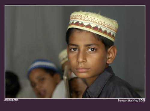 Madrassa student:courtesy http://www.flickr.com/photos/sarwarmushtaq/3277351129/