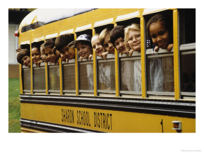 school-children-looking-out-school-bus-windows-posters