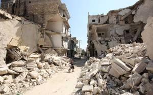 09268316 syrian boy in rubble